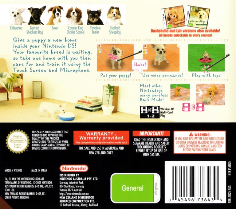 Nintendogs - Chihuahua & Friends DS backHQ (AD2E)