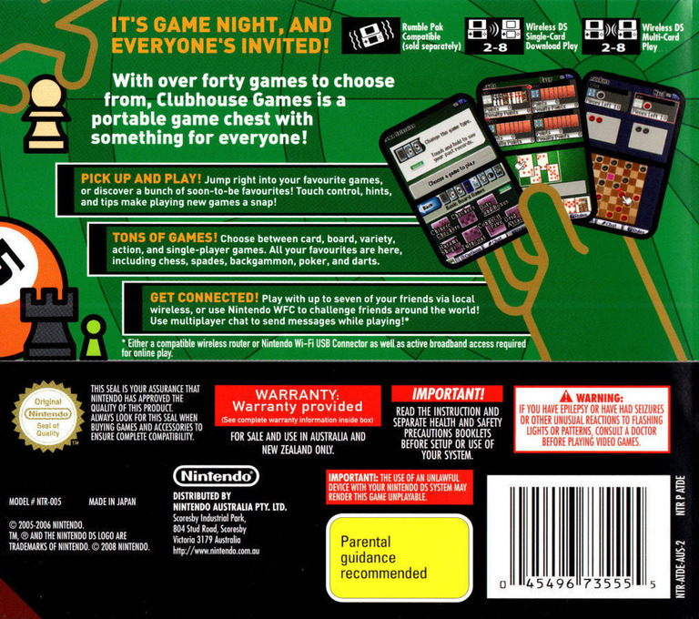 Clubhouse Games DS backHQ (ATDE)