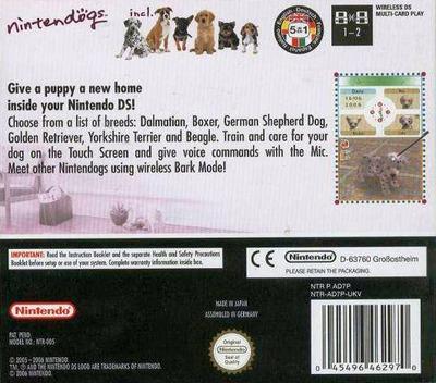 Nintendogs - Dalmatian & Friends DS backM (AD7P)