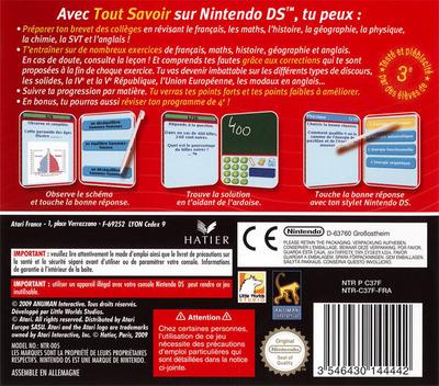 Tout Savoir 3e - L'Essentiel du Programme DS backM (C37F)