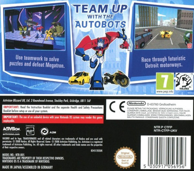 Transformers Animated - The Game DS backM (CTFP)