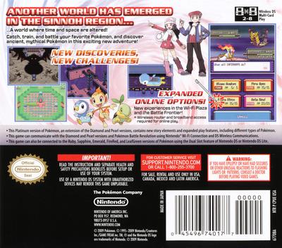 Pokémon - Platinum Version DS backM (CPUE)