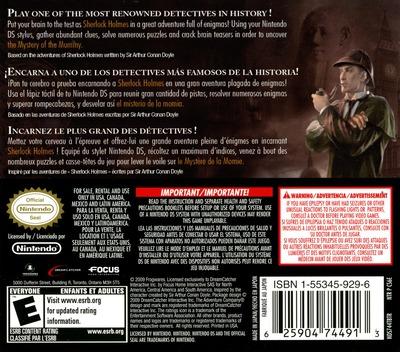 Sherlock Holmes - The Mystery of the Mummy DS backM (CS6E)