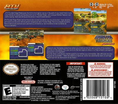 2 Game Pack! - Monster Trucks Mayhem + ATV - Thunder Ridge Riders DS backM (YAME)