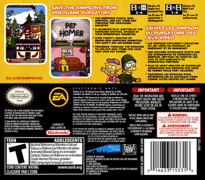 The Simpsons Game DS backM (YSZE)