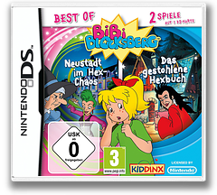 2 in 1 - Best of Bibi Blocksberg - Neustadt im Hex-Chaos + Das Gestohlene Hexbuch DS cover (TBDD)