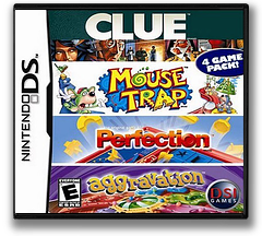 4 Game Pack! - Clue + Aggravation + Perfection + Mouse Trap DS cover (ALPE)