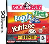 4 Game Fun Pack - Monopoly + Boggle + Yahtzee + Battleship DS cover (AHBP)