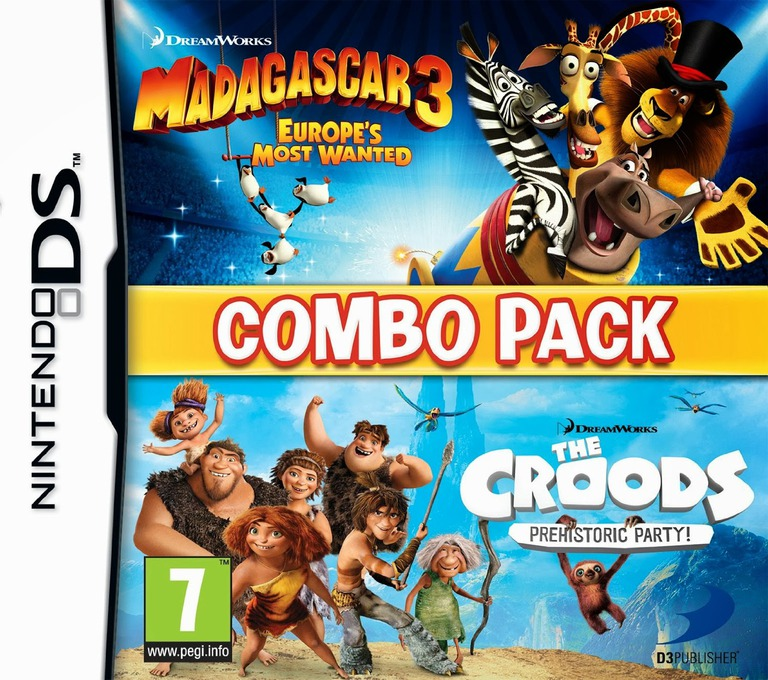 The Combo Pack - Madagascar 3 - Europe's Most Wanted + Croods - Prehistoric Party! DS coverHQ (TRCP)