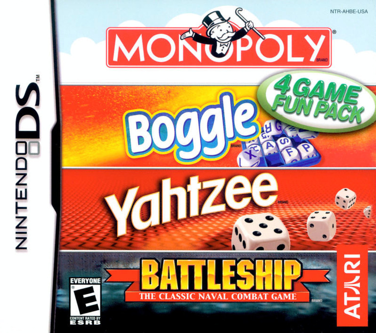 4 Game Fun Pack - Monopoly + Boggle + Yahtzee + Battleship DS coverHQ (AHBE)
