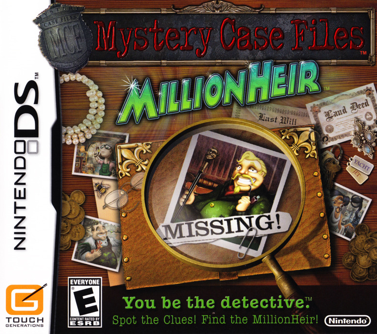 Mystery Case Files - MillionHeir DS coverHQ (CM7E)
