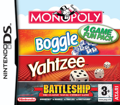 4 Game Fun Pack - Monopoly + Boggle + Yahtzee + Battleship DS coverM (AHBP)