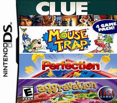 4 Game Pack! - Clue + Aggravation + Perfection + Mouse Trap DS coverM (ALPE)
