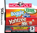 4 Game Fun Pack - Monopoly + Boggle + Yahtzee + Battleship DS coverS (AHBP)