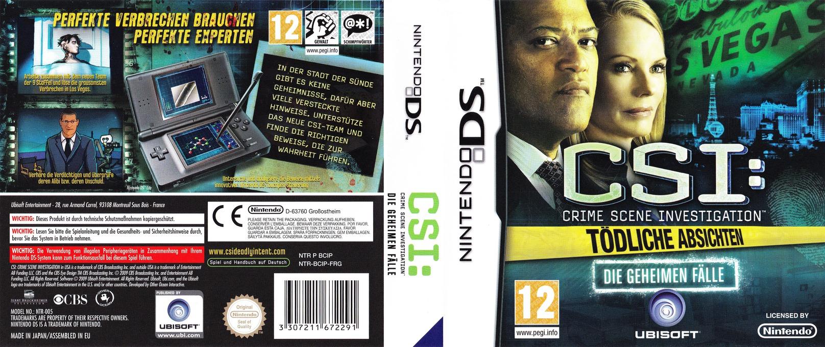 CSI - Crime Scene Investigation - Tödliche Absichten - Die Geheimen Fälle DS coverfullHQ (BCIP)