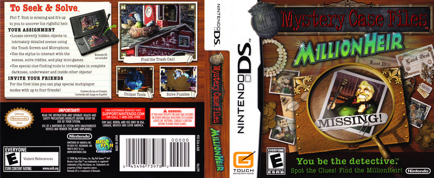 Mystery Case Files - MillionHeir DS coverfullM (CM7E)