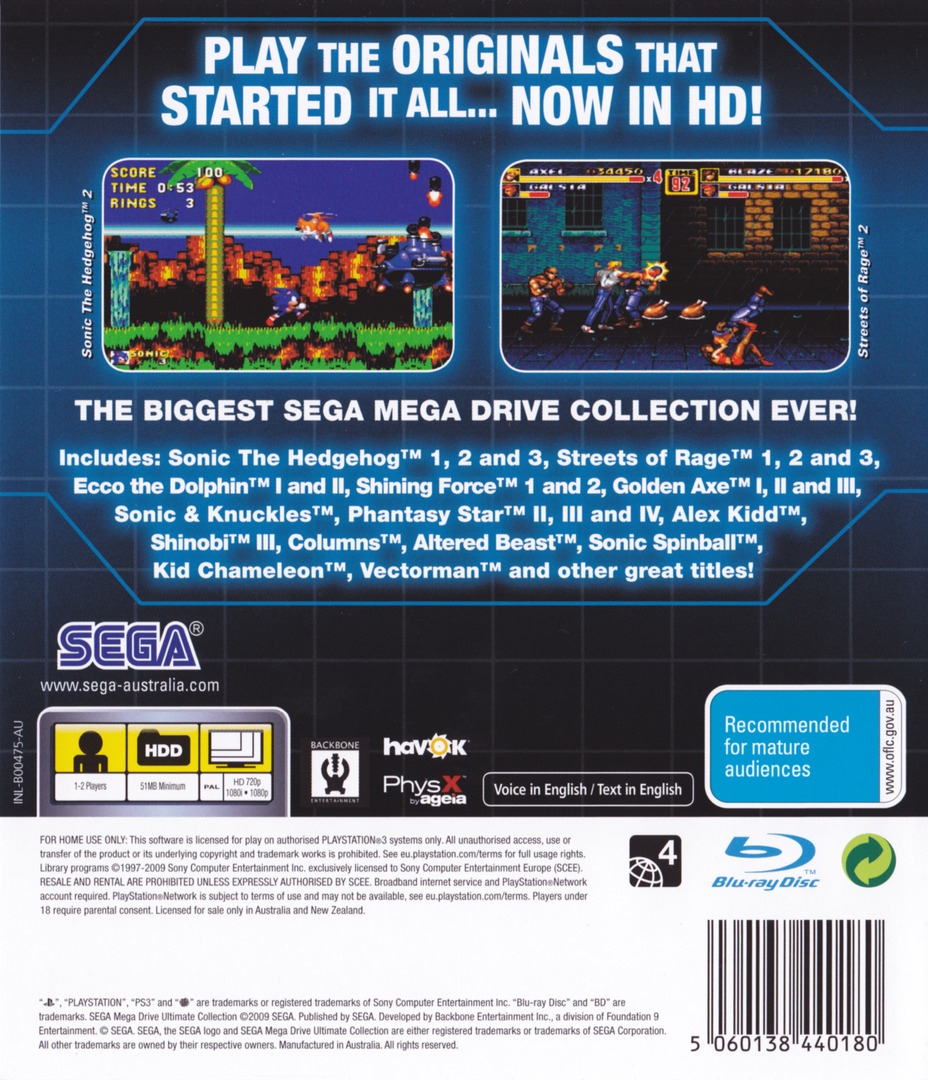 Sega Mega Drive: Ultimate Collection PS3 backHQ (BLES00475)