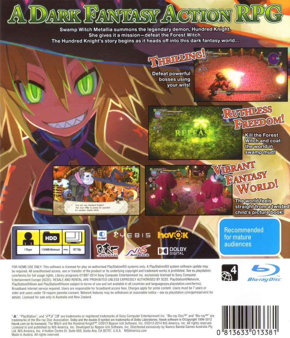 The Witch and the Hundred Knight PS3 backHQ (BLES01987)