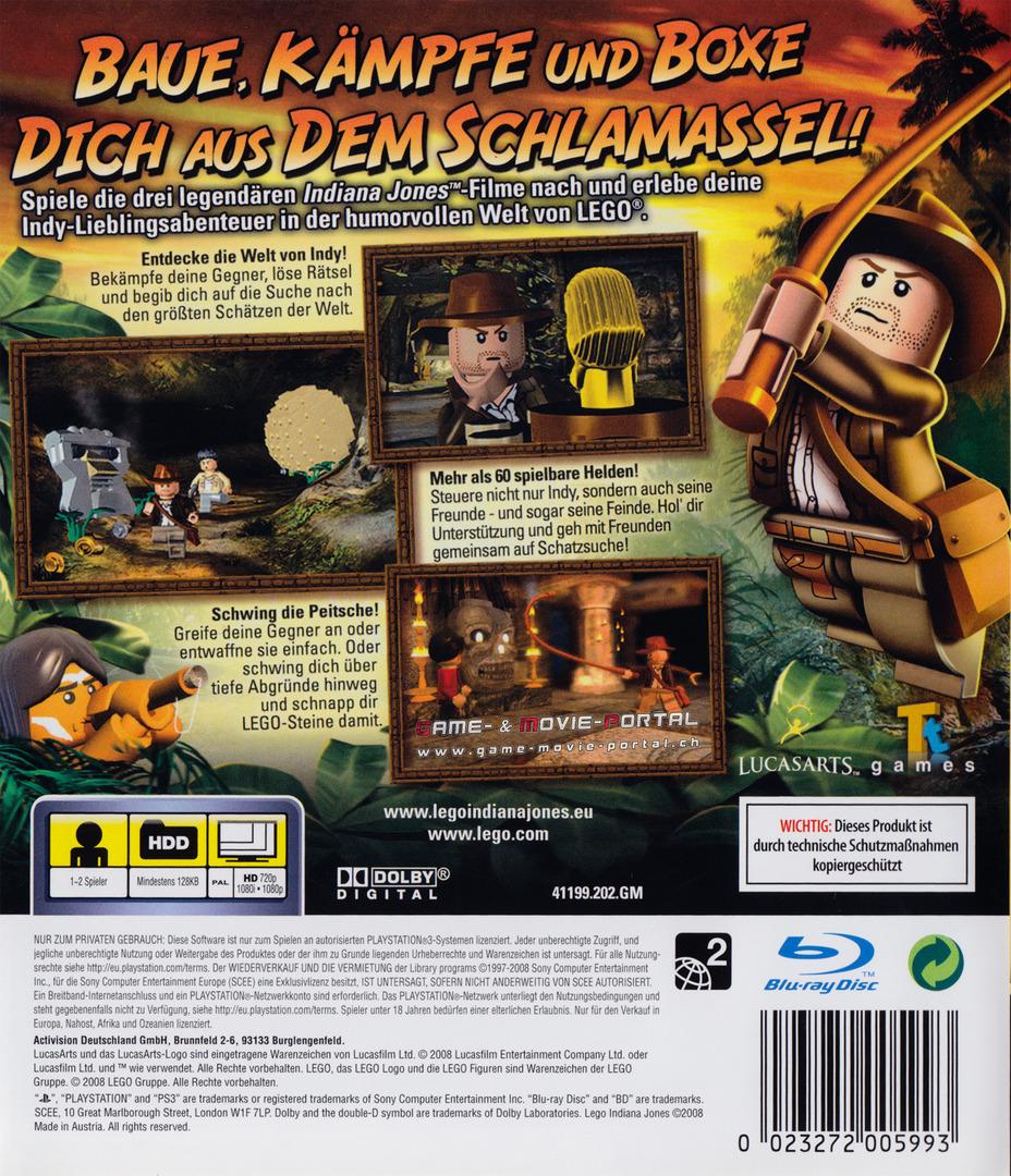 Lego Indiana Jones: Die Legendären Abenteuer PS3 backHQ (BLES00254)