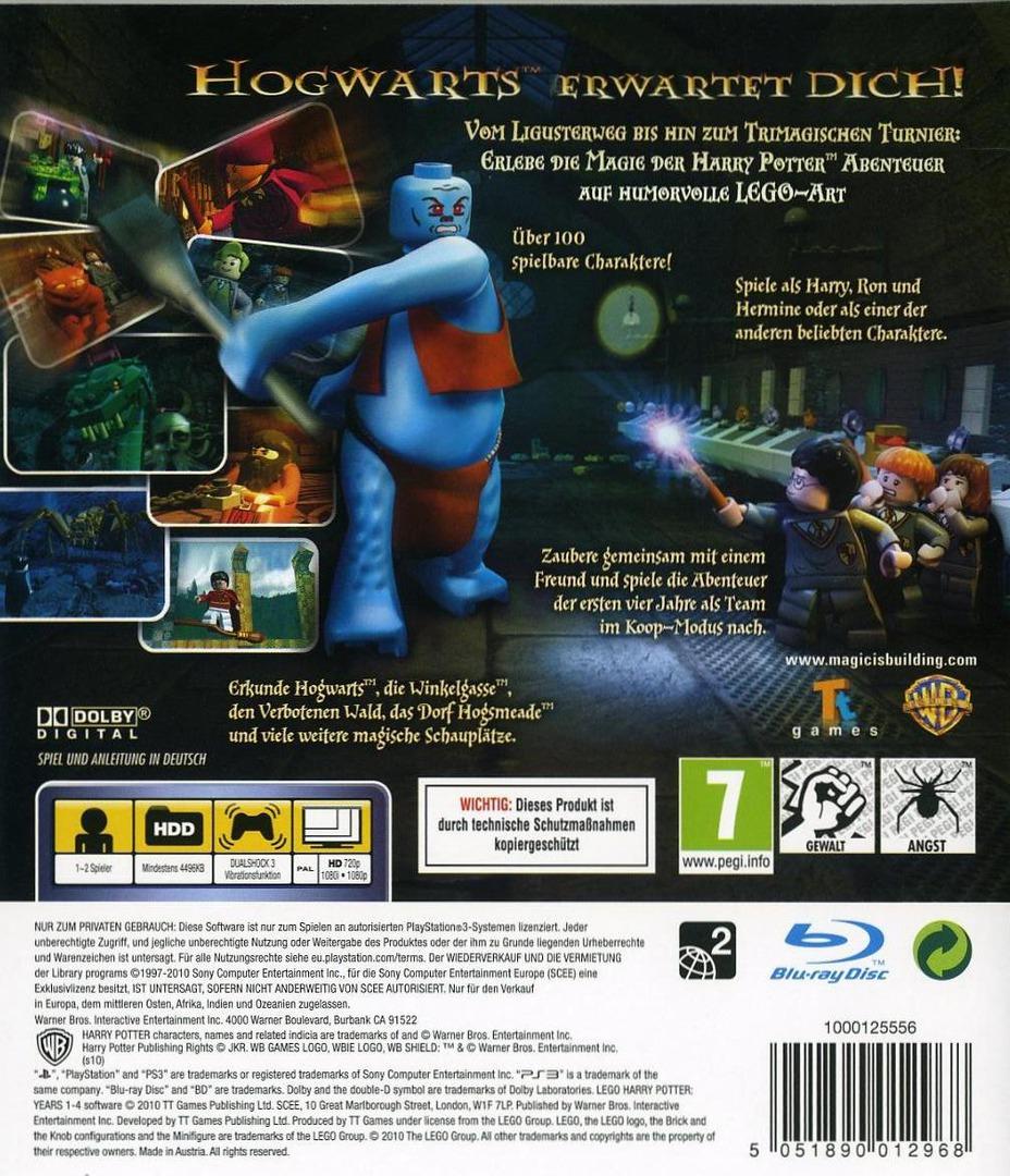 LEGO Harry Potter: Die Jahre 1-4 PS3 backHQ (BLES00720)