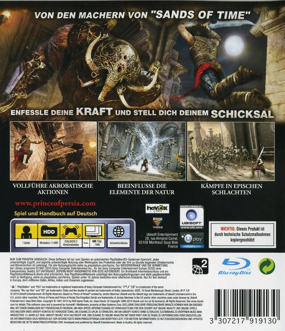 Prince of Persia: Die Vergessene Zeit PS3 backHQ (BLES00839)