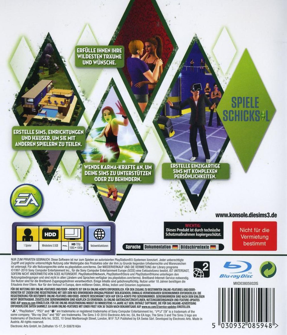 Die Sims 3 PS3 backHQ (BLES01016)