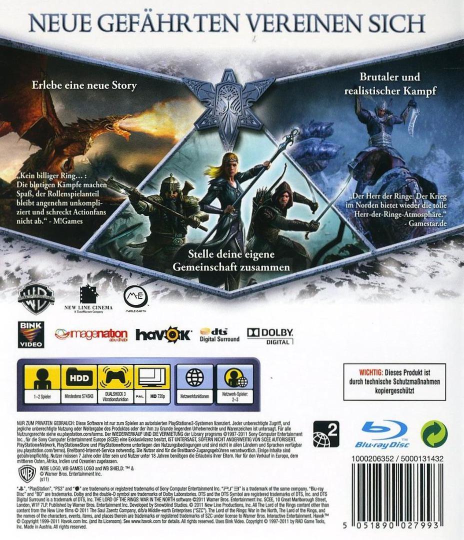 Der Herr der Ringe: der Krieg im Norden PS3 backHQ (BLES01181)