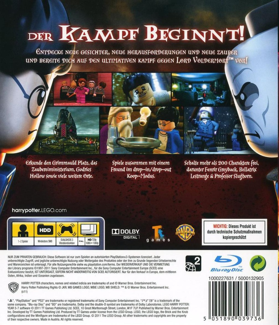 LEGO Harry Potter: Die Jahre 5-7 PS3 backHQ (BLES01348)