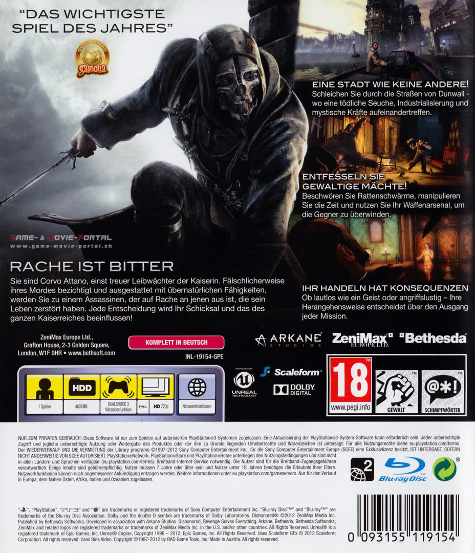 Dishonored: Die Maske des Zorns PS3 backHQ (BLES01675)