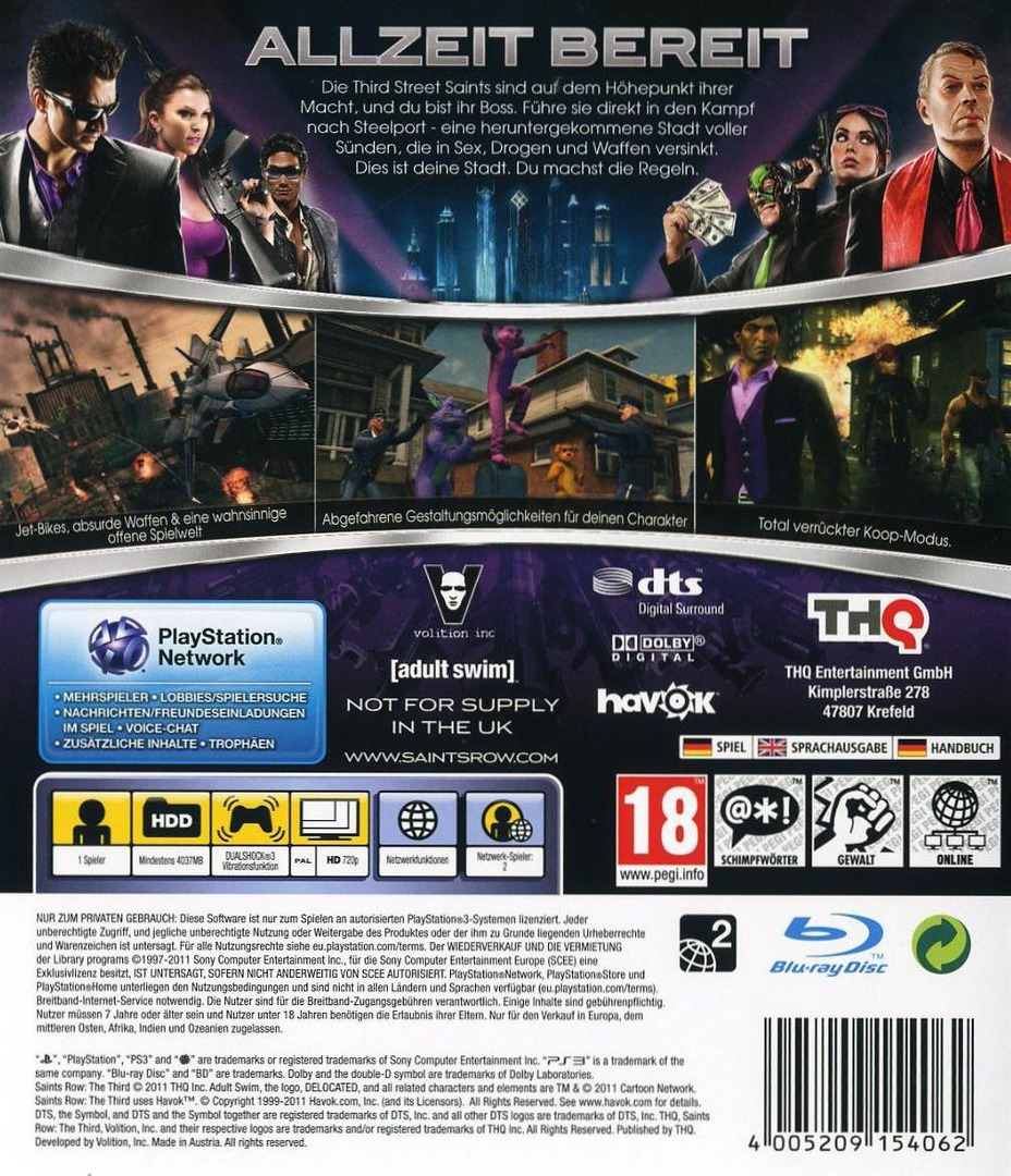 Saints Row : The Third The Full Package PS3 backHQ (BLES01748)