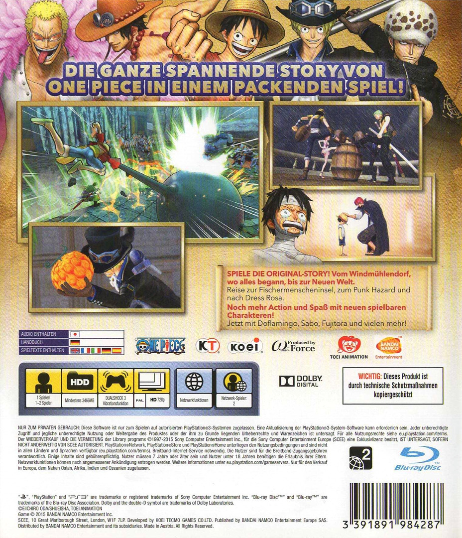 One Piece Pirate Warriors 3 PS3 backHQ (BLES02140)