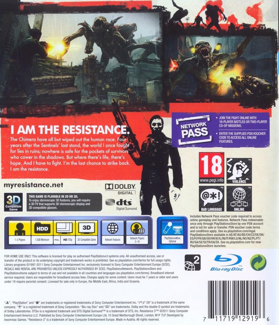 Resistance 3 PS3 backHQ (BCES01118)