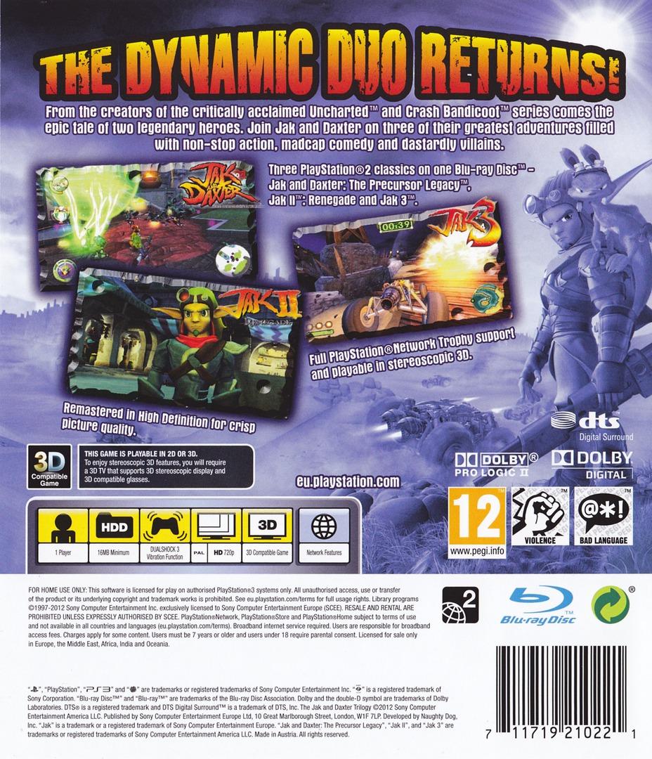 Jak & Daxter The Trilogy PS3 backHQ (BCES01325)