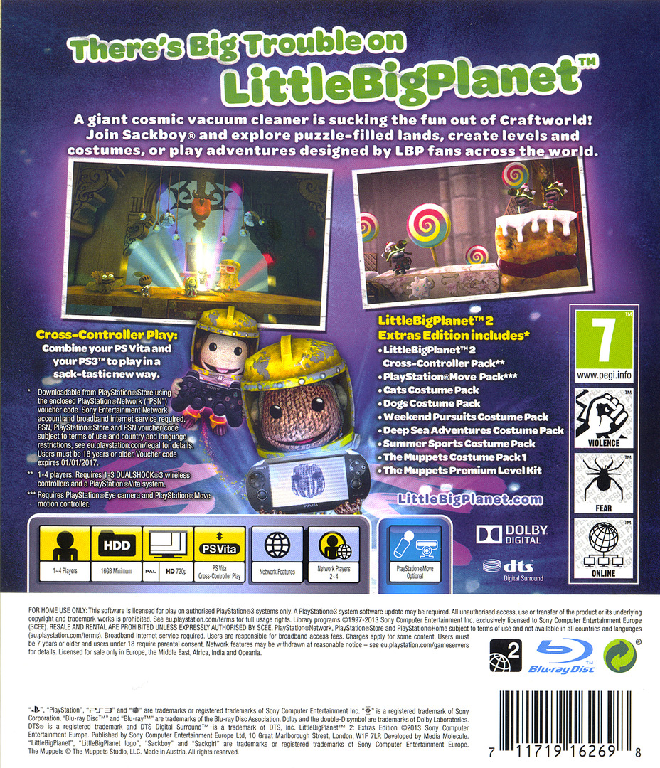 LittleBigPlanet 2 (Extras Edition) PS3 backHQ (BCES01694)