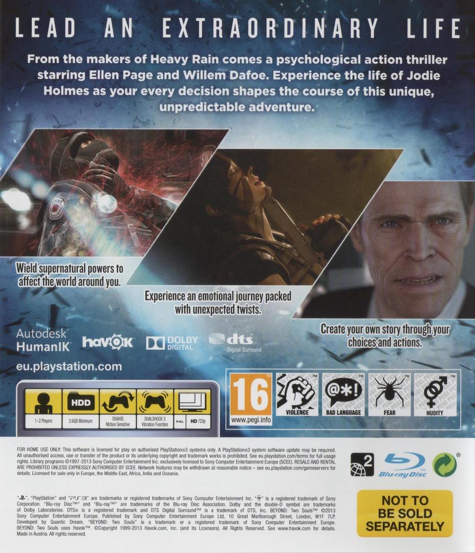 Beyond: Two Souls PS3 backHQ (BCES01888)