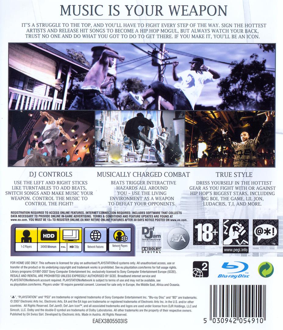 Def Jam: Icon PS3 backHQ (BLES00042)