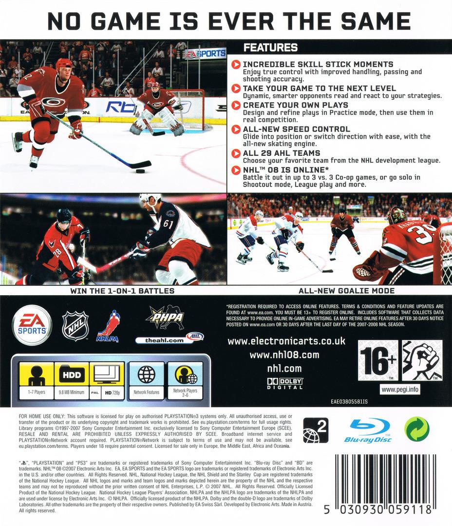 NHL 08 PS3 backHQ (BLES00118)