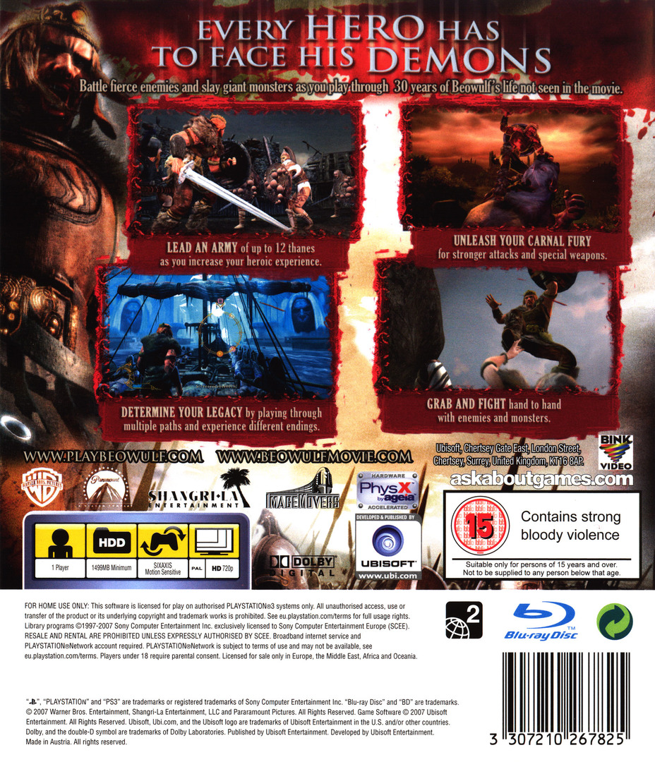 Beowulf: The Game PS3 backHQ (BLES00161)