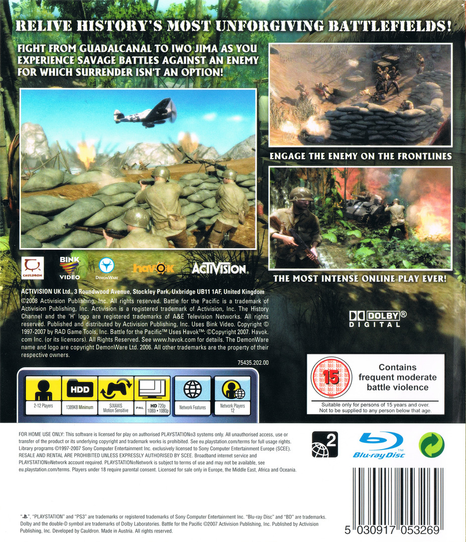 The History Channel: Battle for the Pacific PS3 backHQ (BLES00194)