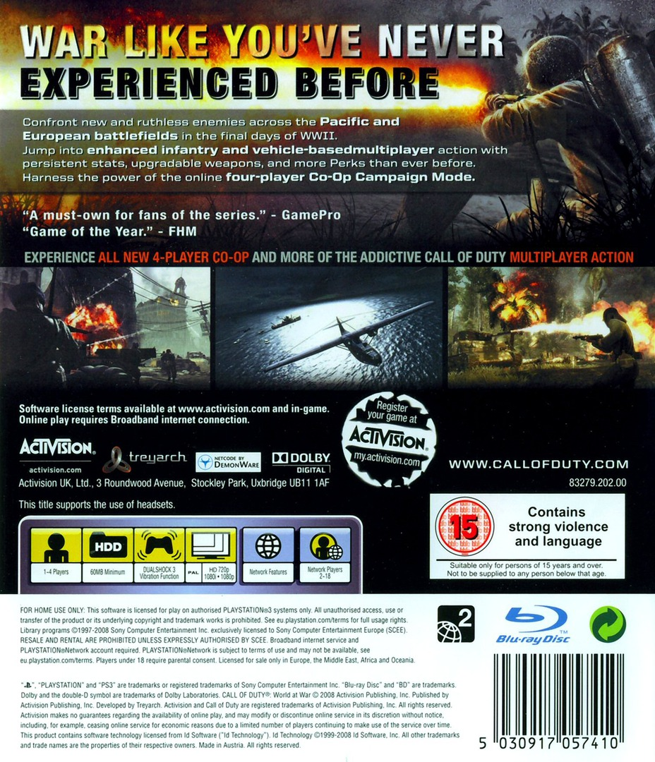 Call of Duty: World at War PS3 backHQ (BLES00354)