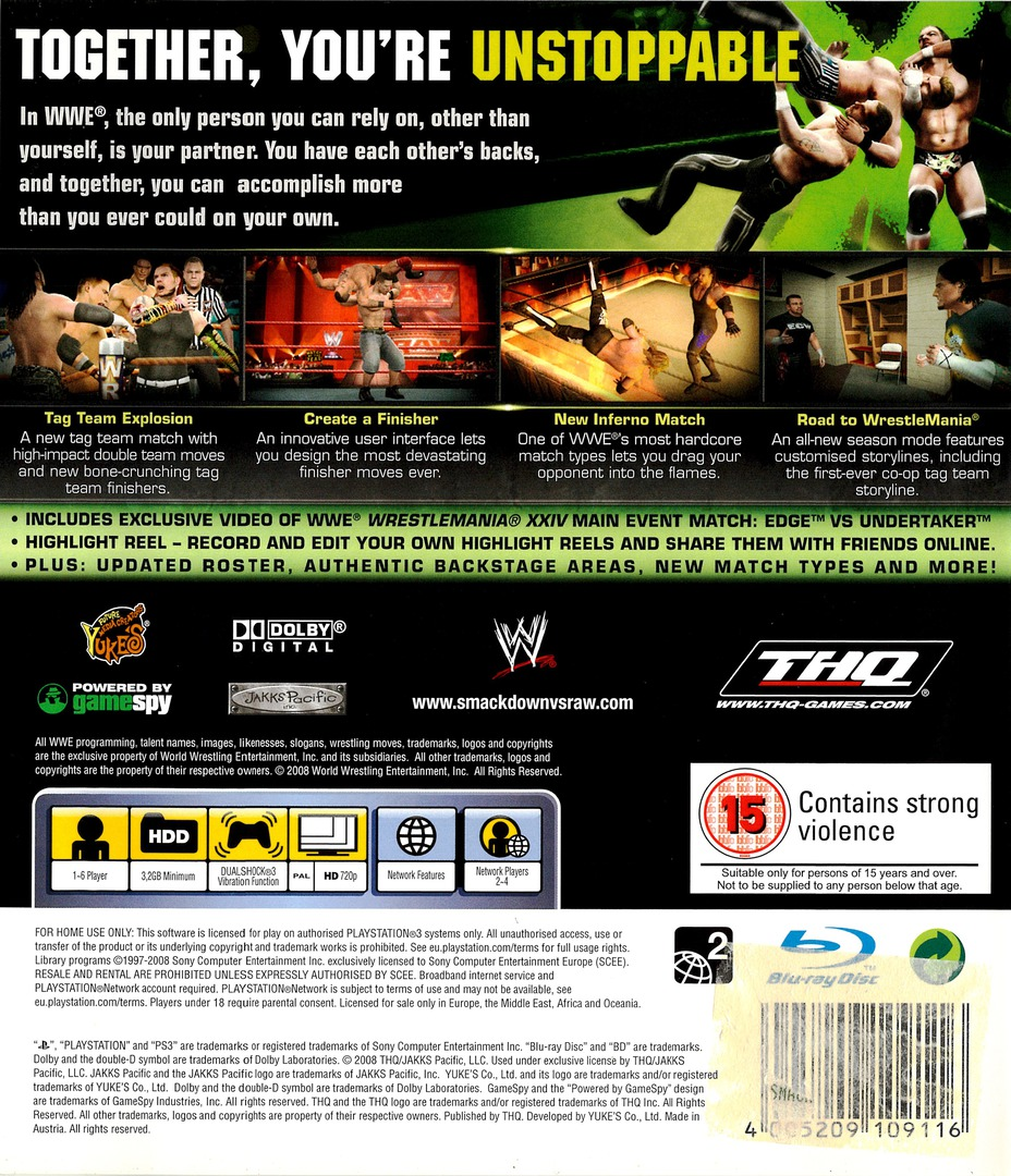 WWE Smackdown vs Raw 2009 PS3 backHQ (BLES00361)