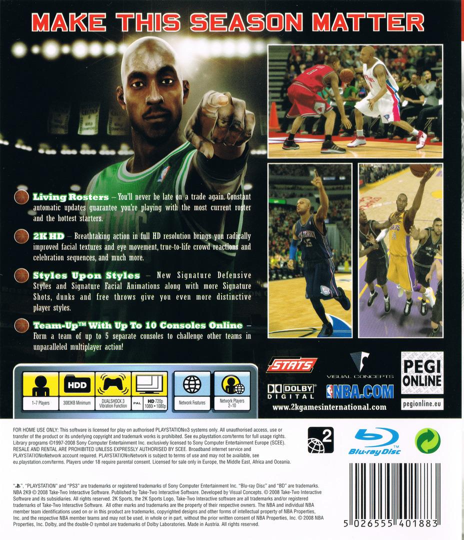 NBA 2K9 PS3 backHQ (BLES00384)