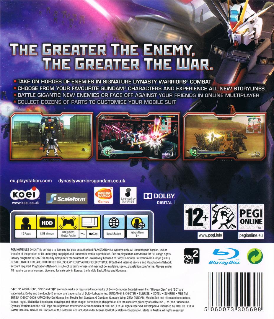 Dynasty Warriors: Gundam 2 PS3 backHQ (BLES00528)