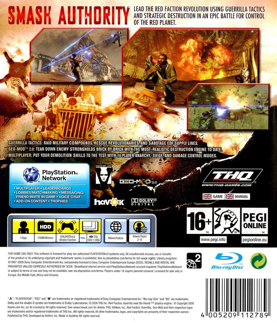 Red Faction: Guerrilla PS3 backHQ (BLES00592)