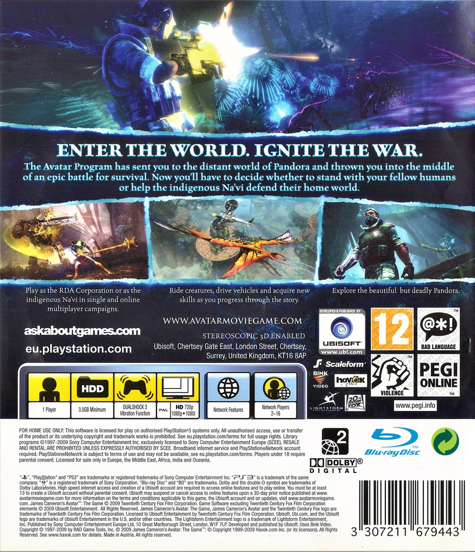 James Cameron's Avatar: The Game PS3 backHQ (BLES00753)