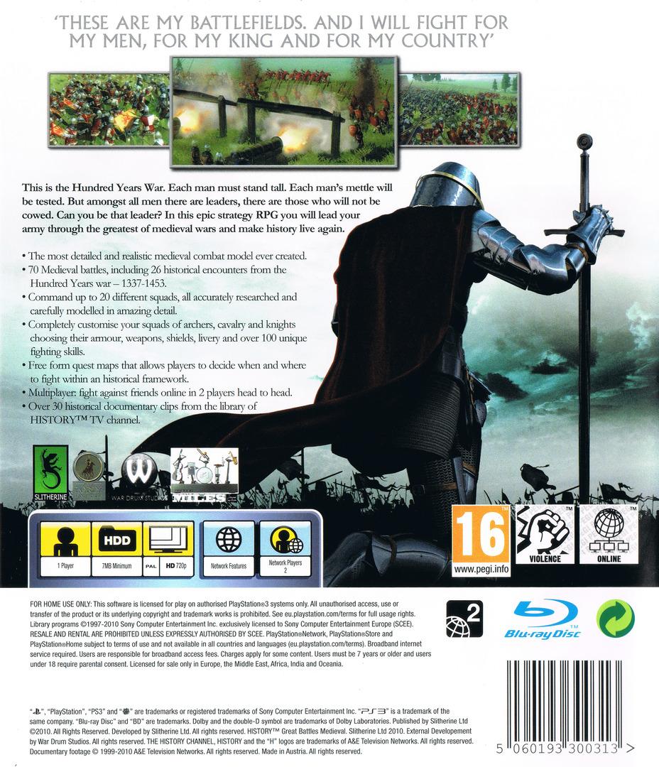 History: Great Battles Medieval PS3 backHQ (BLES00822)