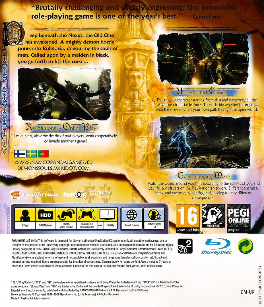 Demon's Souls PS3 backHQ (BLES00932)
