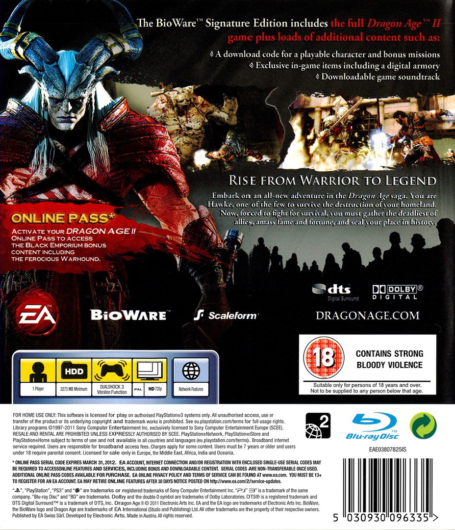 Dragon Age II (Bioware Signature Edition) PS3 backHQ (BLES01084)