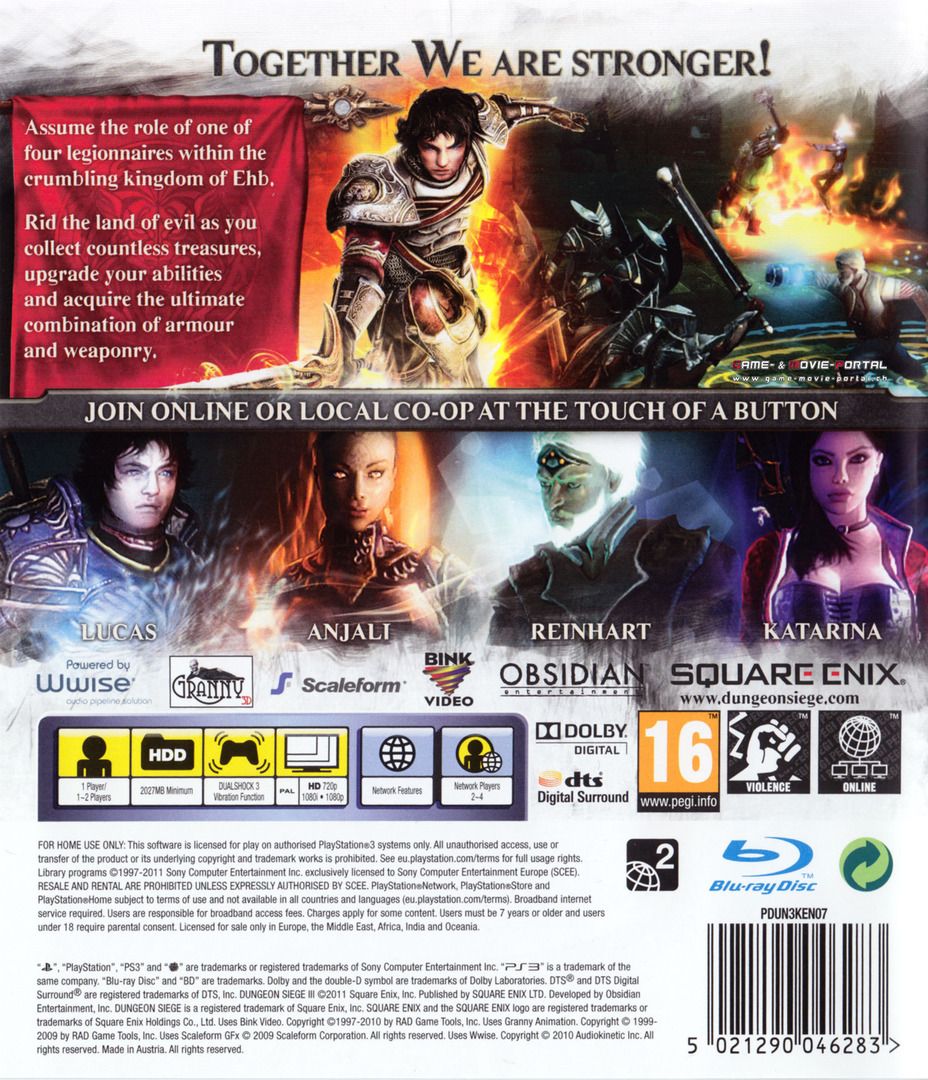 Dungeon Siege III PS3 backHQ (BLES01161)