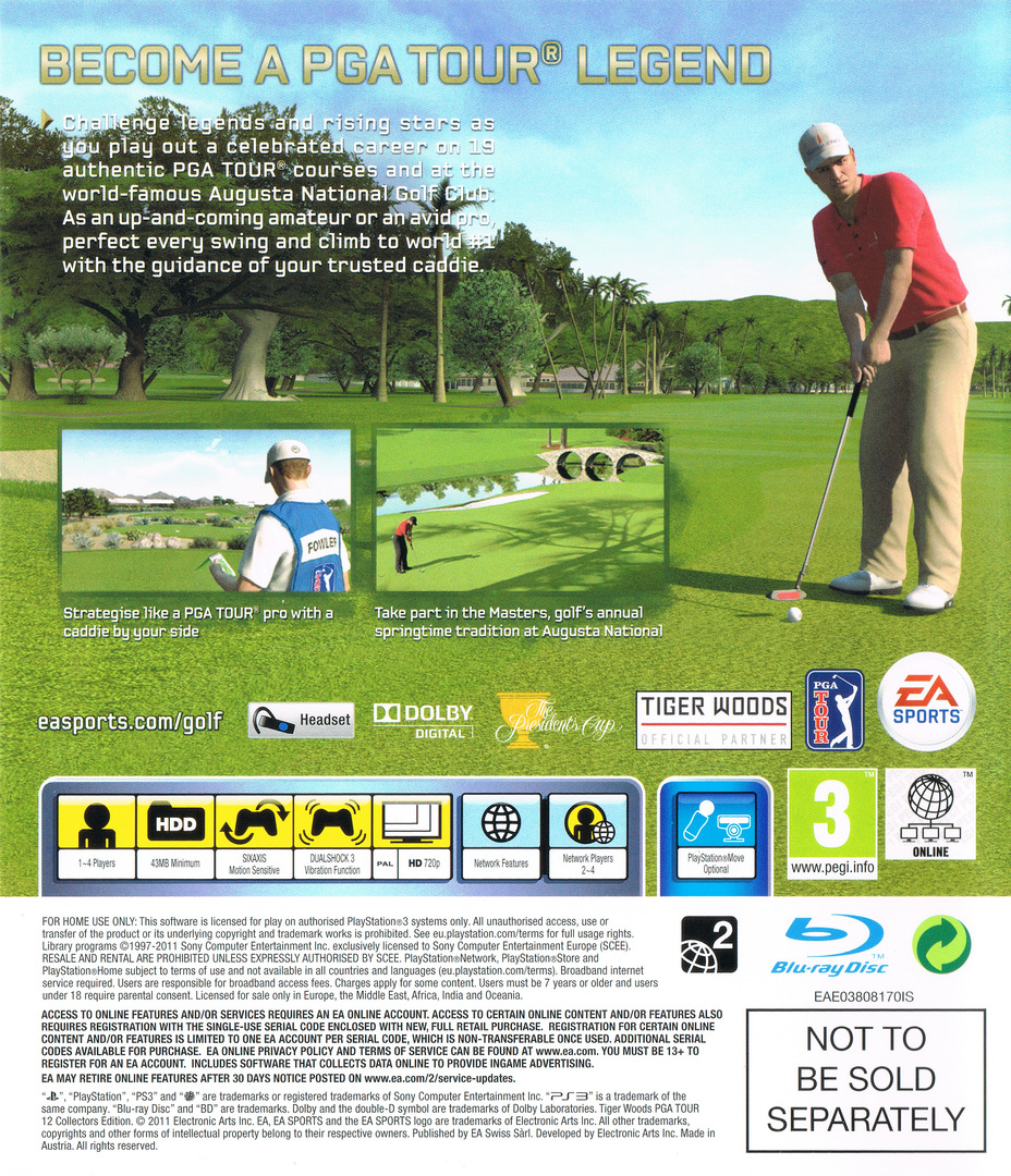 Tiger Woods PGA Tour 12: The Masters PS3 backHQ (BLES01270)